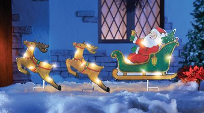 Lighted Sleigh And Reindeer Garden Stakes Outdoor