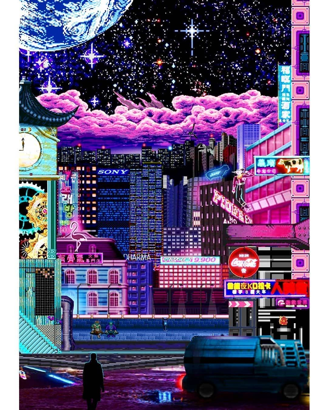 A Vaporwave Future Inspired By Bladerunner Pixelart Vaporwave Aesthetic Digitalart Retro Cyberpunk Synthw Vaporwave Wallpaper Aesthetic Art Pixel Art