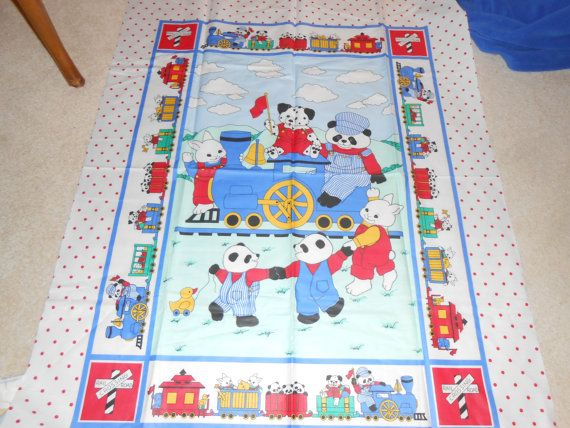 Vintage Fabric Baby Kids Novelty Train Print Quilt Top