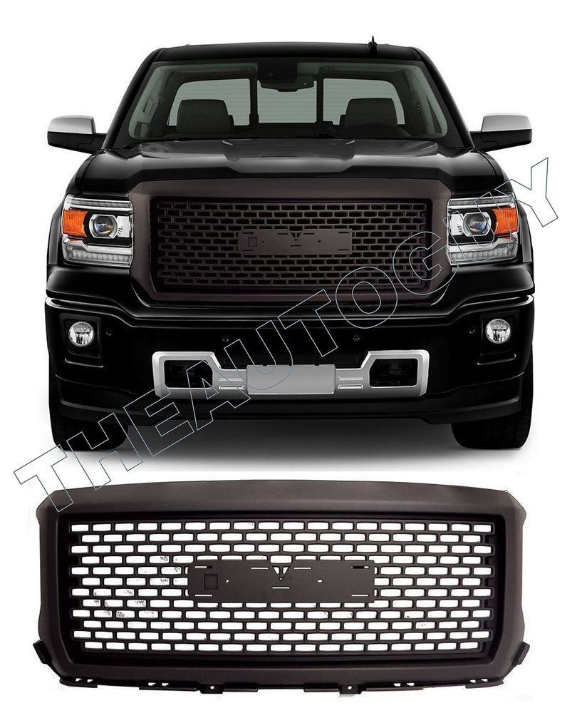 2014 2015 gmc sierra 1500 only abs matte black denali style replacement grill