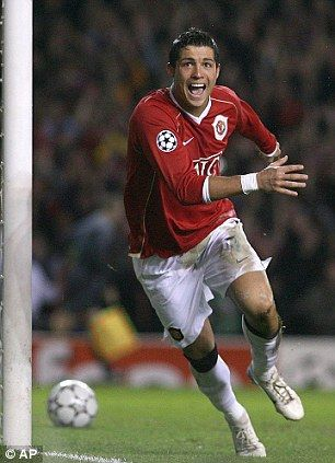 f7247d37193 ... scoring at Old Trafford. Ronaldo celebrates his second goal against  Roma during their Champions League quarter final in 2007