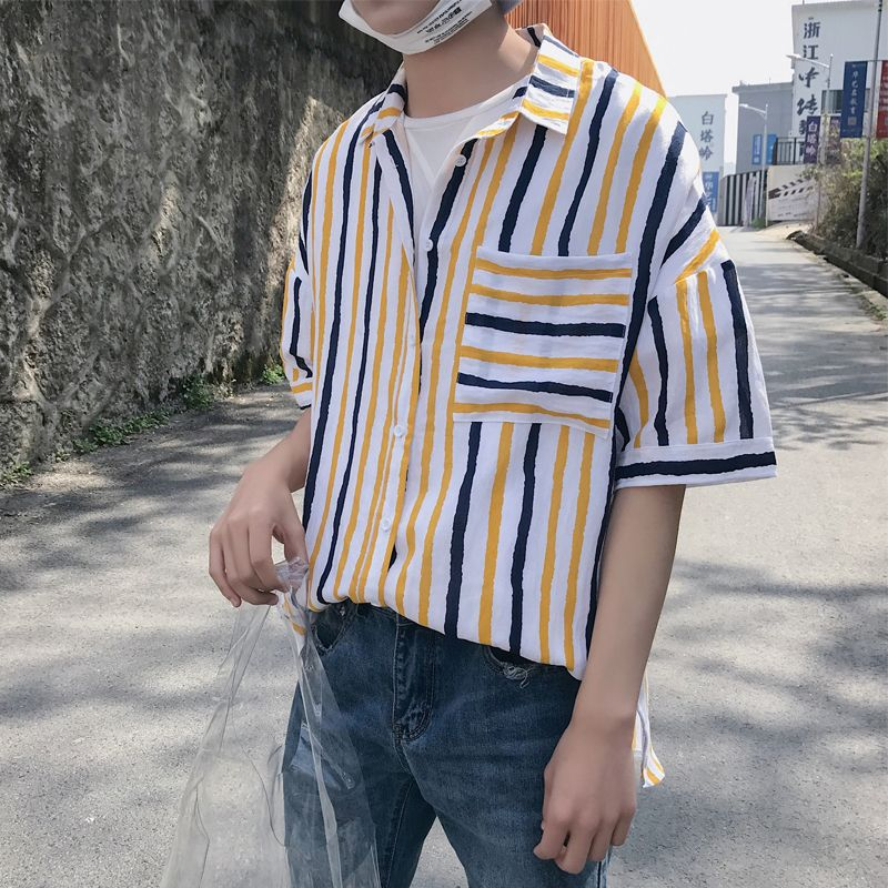 dd6541d85258 2018 Short Sleeves Cotton shirts Korean Style Men s Summer Casual Turn-down  Trend Striped Male Loose Clothes M-XL Shirts camisa