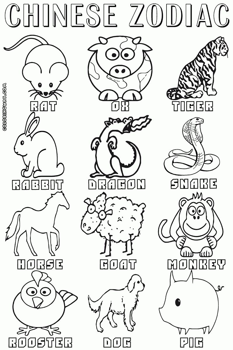 Exceptional Chinese Zodiac Signs And Dates Printable Zodiac Coloring Pages Zodiac Signs Coloring Pages Zodiac Animals