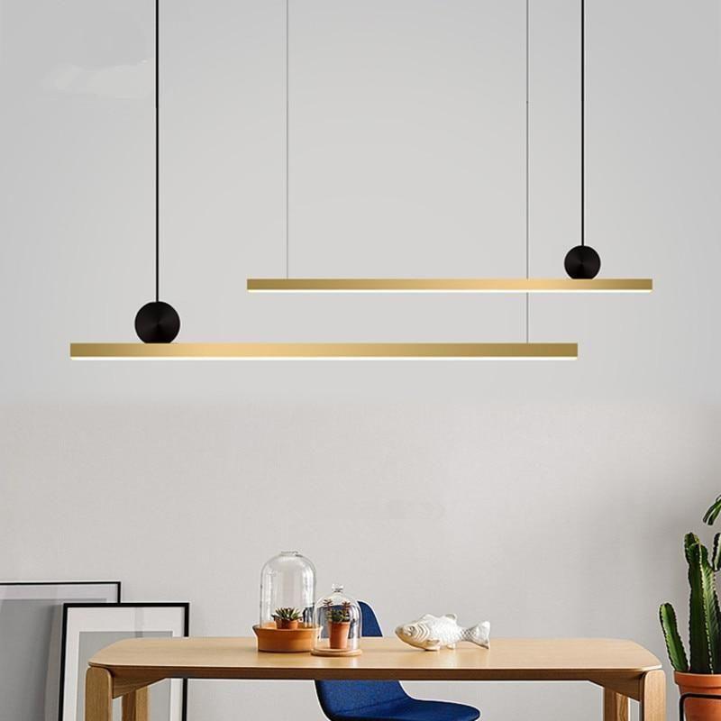 Nordic Copper Led Chandelier Modern Long Strip Light Fixture