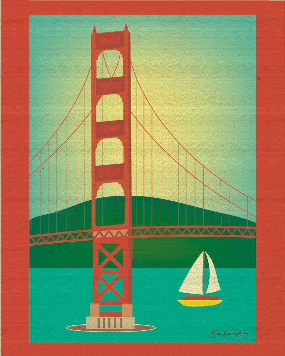 San Francisco Art Print, Golden Gate Bridge Skyline Print, San ...