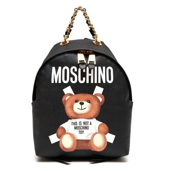 d8a3d0f8291f MOSCHINO  Bear  Printed And Chain Ambellished Mini Backpack ( 580) ❤ liked  on Polyvore featuring bags