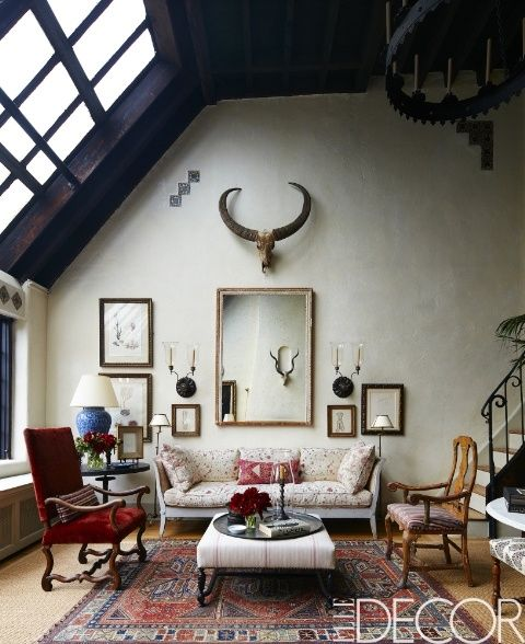 Beautiful Living Rooms In A New York Full Of Antiques And Water Buffalo Horns