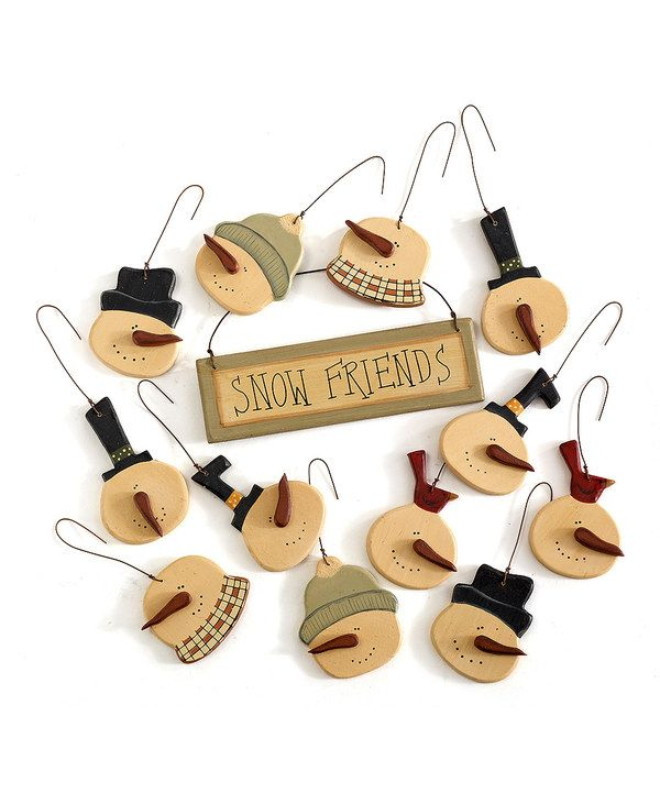 Take a look at this Mini Snowman Faces Ornament Set on zulily today!