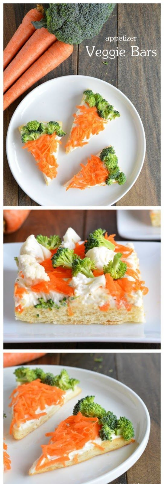 These veggie bars are perfect appetizers for easter meals. It's a light and flaky crescent roll crust layered with a cream cheese spread and then topped with fresh crunchy veggies