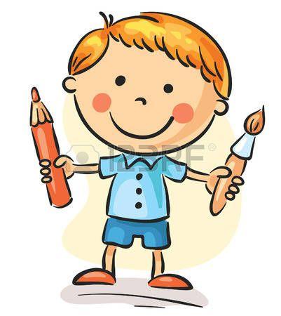 Ni o peque o que sostiene un pincel y un l piz varios - Foto nino pequeno ...