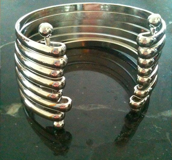 Silver Stainless Steel  Bangle Cuff Bracelet by aRadboutique, $28.99