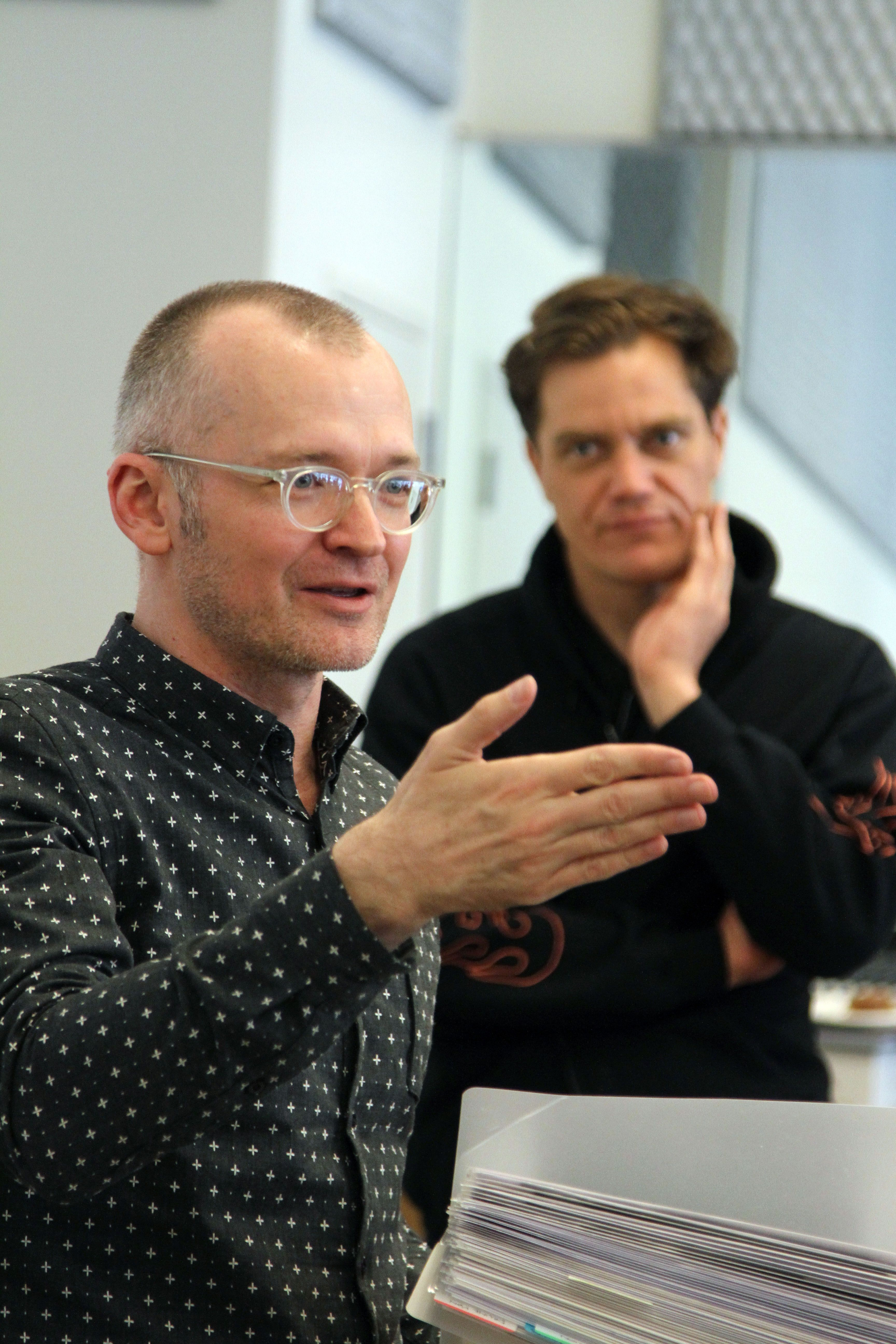 Director Darko Tresnjak (foreground) and Michael Shannon in
