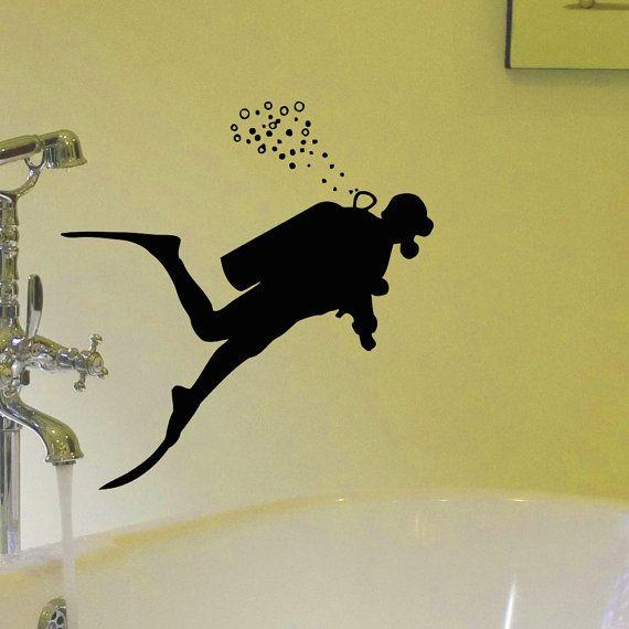 Vinyl Wall Decals Scuba Diver Diving Ocean Sea Bathroom ...