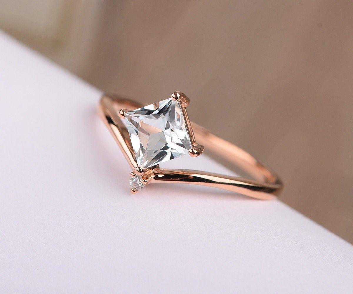 aquamarine filigree modern ring Aquamarine Ring Gift   March birthstone aquamarine rose gold ring