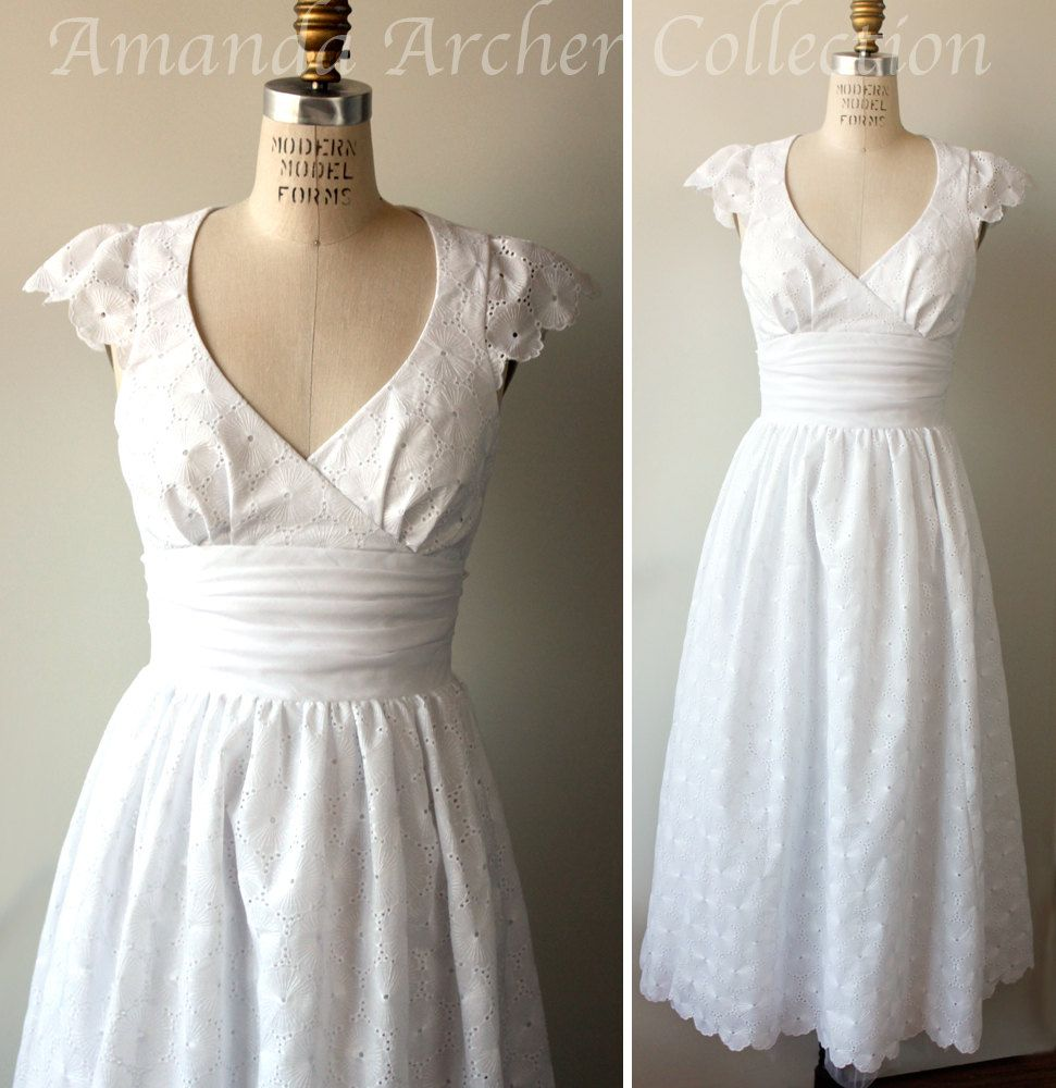 Tea Length Eyelet Wedding Dress, white cotton, Made to Order ...