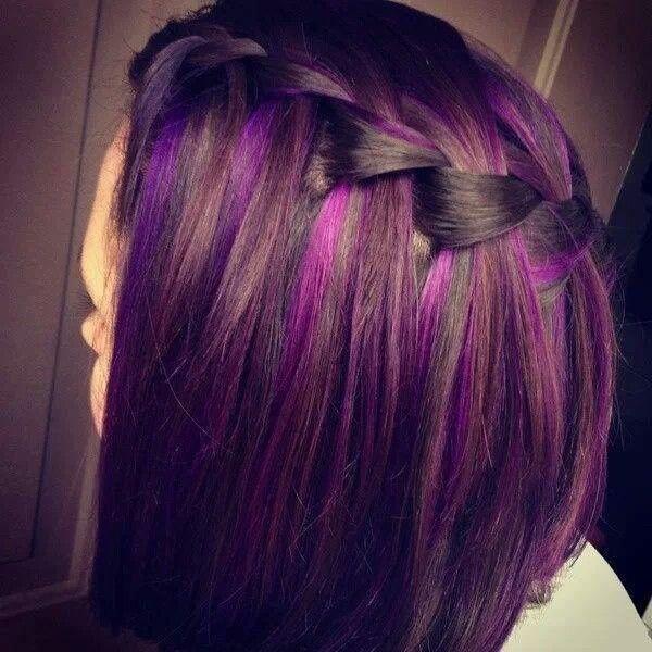 purple hair and waterfall braid