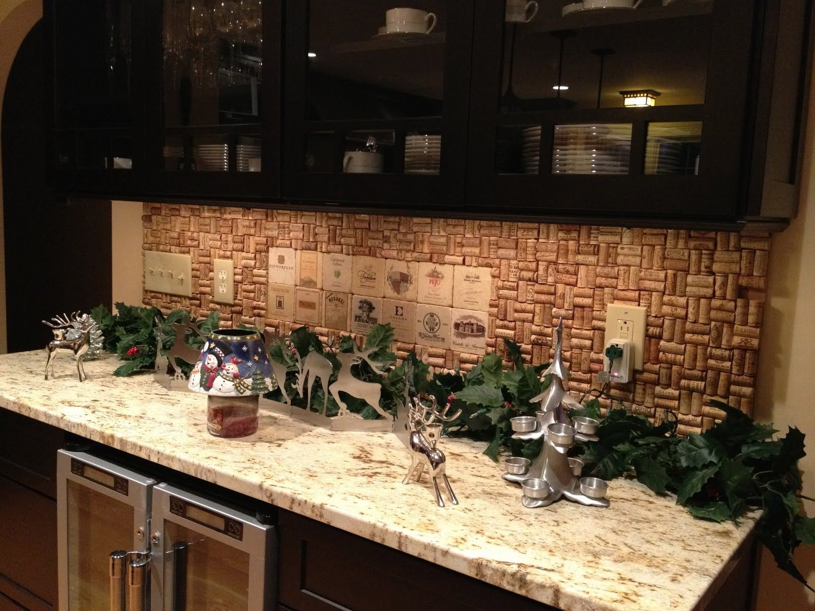 our homemade cork backsplash! tough job drinking all that