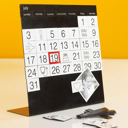 This magnetic perpetual calendar makes planning fun organize your month with dates and symbol magnets