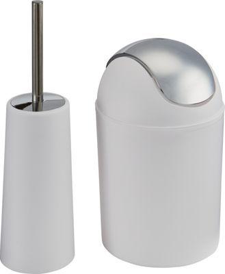 Waste Bin And Toilet Brush Set White