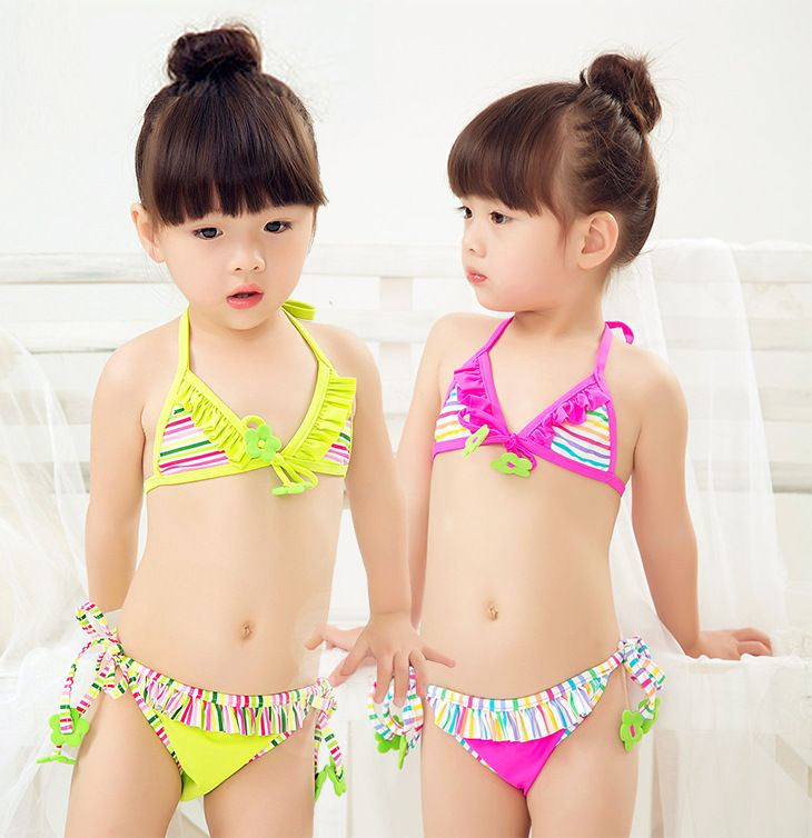 Kids Baby Girls Pink Swimsuit Swimwear Beachwear Bikini Set Swimming Bathingsuit