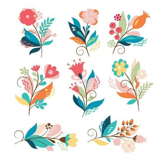'Floral Set' Art Print - lenlis | Art.com