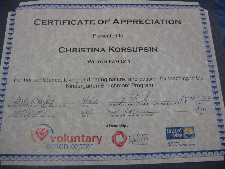Christina korsupsin received this certificate of appreciation for christina korsupsin received this certificate of appreciation for her work in the kindergarten enrichment program xflitez Image collections