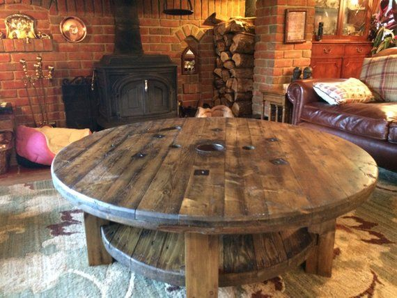Cable Drum Coffee Table Handmade Reclaimed #cablespooltables