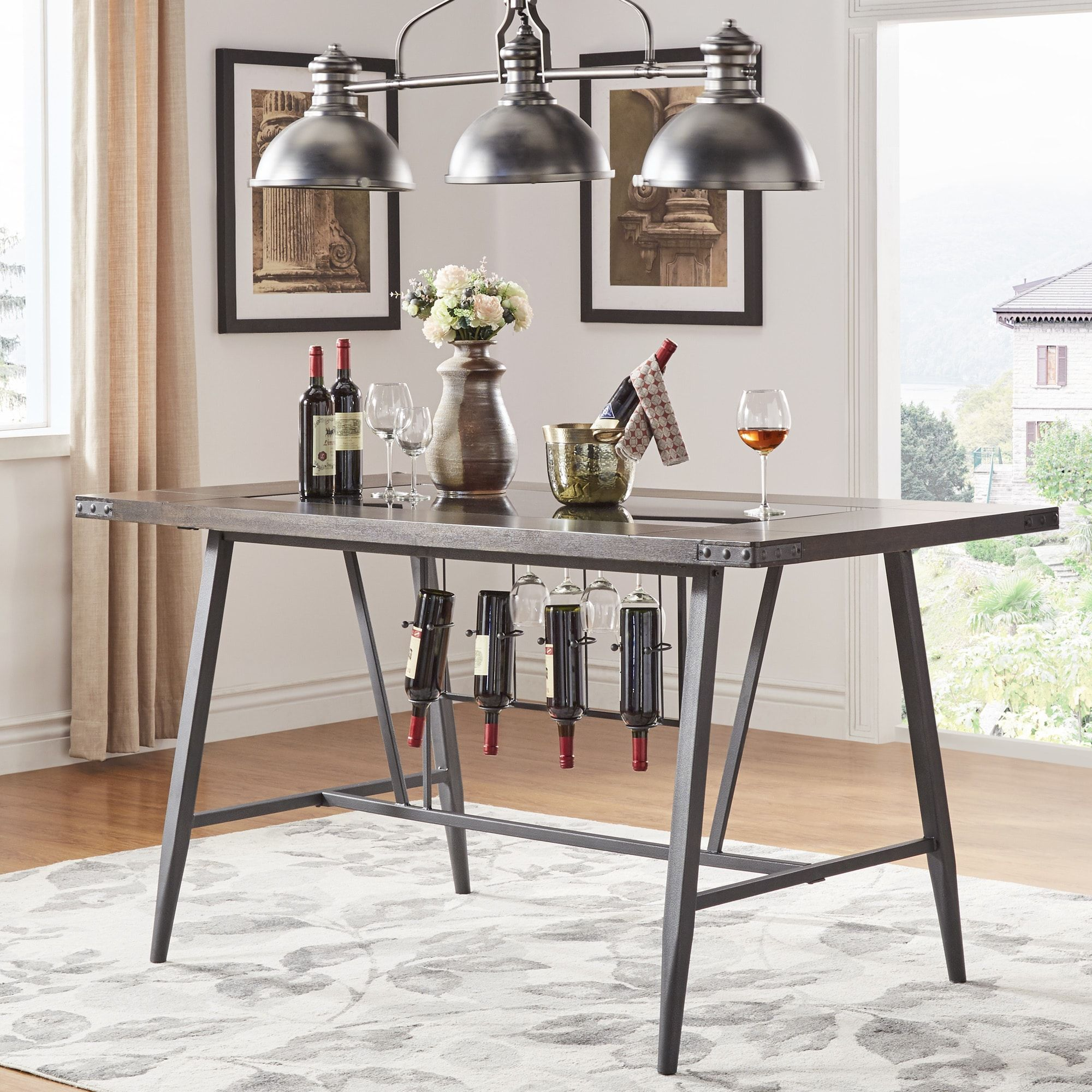 Harley Counter Height Dining Table with Wine Rack by