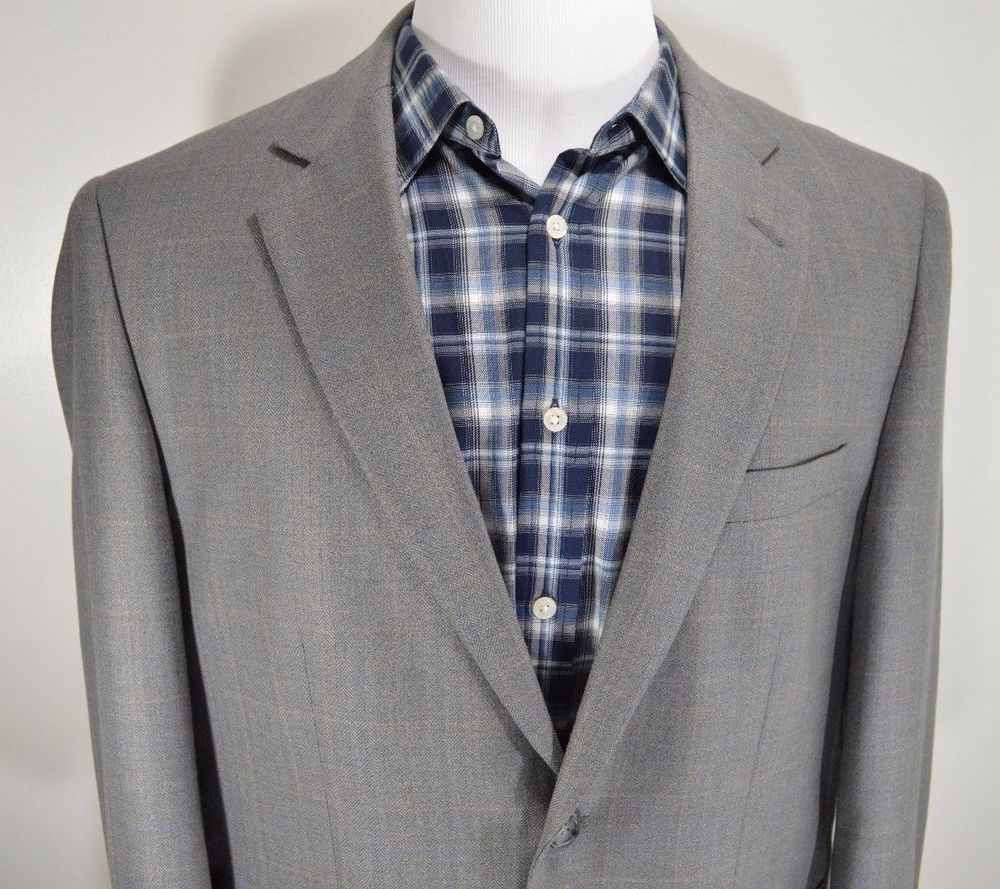 JOSEPH & FEISS mens gray wool sport coat blazer jacket 44R 44 ...