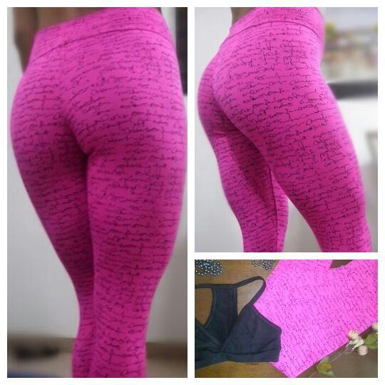 Calça legging fitness Suplex tipo jacquard estampada rosa pink.  www.candyshape.com.br
