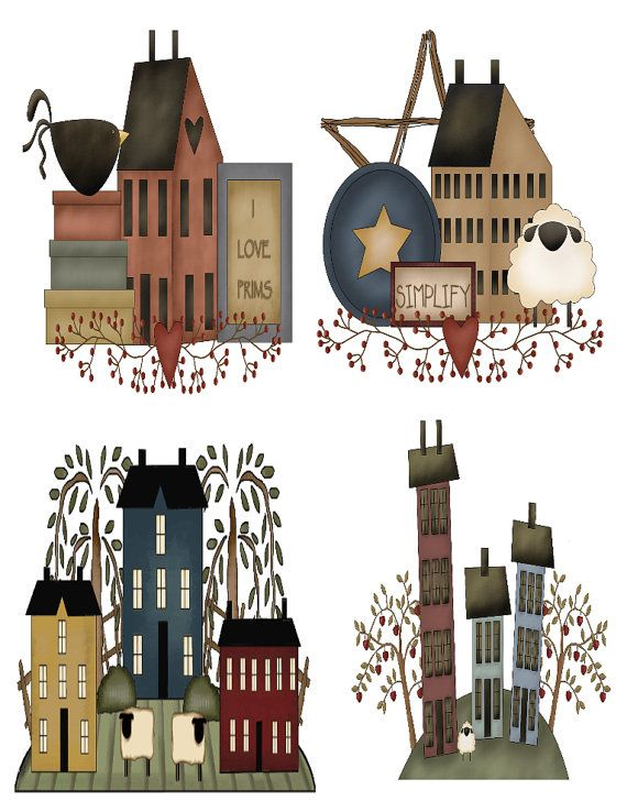 Primitive Saltbox Houses Wall Decals