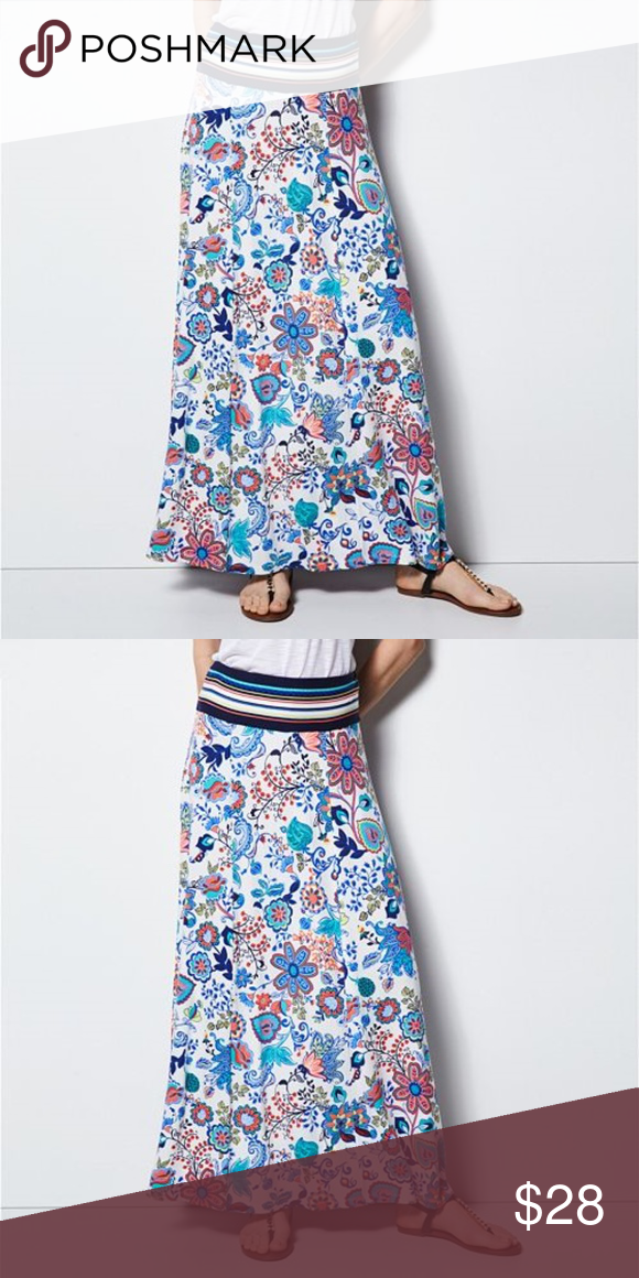 e12df72dc1 Milly for Design Nation Floral Print Maxi Skirt Boho Festival Vibrant Floral  Flare Pull On Maxi