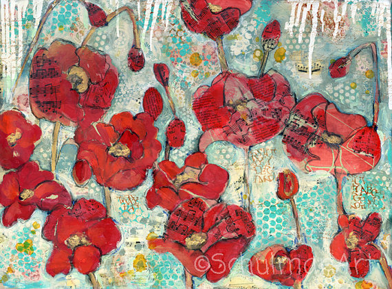 modern Red poppy flower art  Original mixed media by SchulmanArts, $36.00