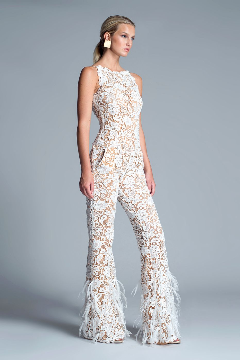1cce7a1066f Julian Chang Chanel Jumpsuit - Long and elegant lace jumpsuit featuring  scoop neckline. Pockets at sides. No feathers attached.