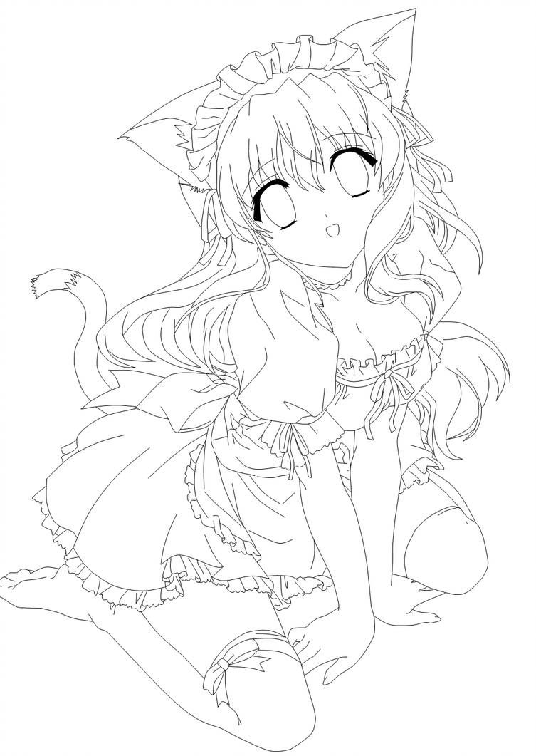 Moe Neko Lines By Amu Chii Anime Lineart Cute Coloring Pages Chibi Coloring Pages
