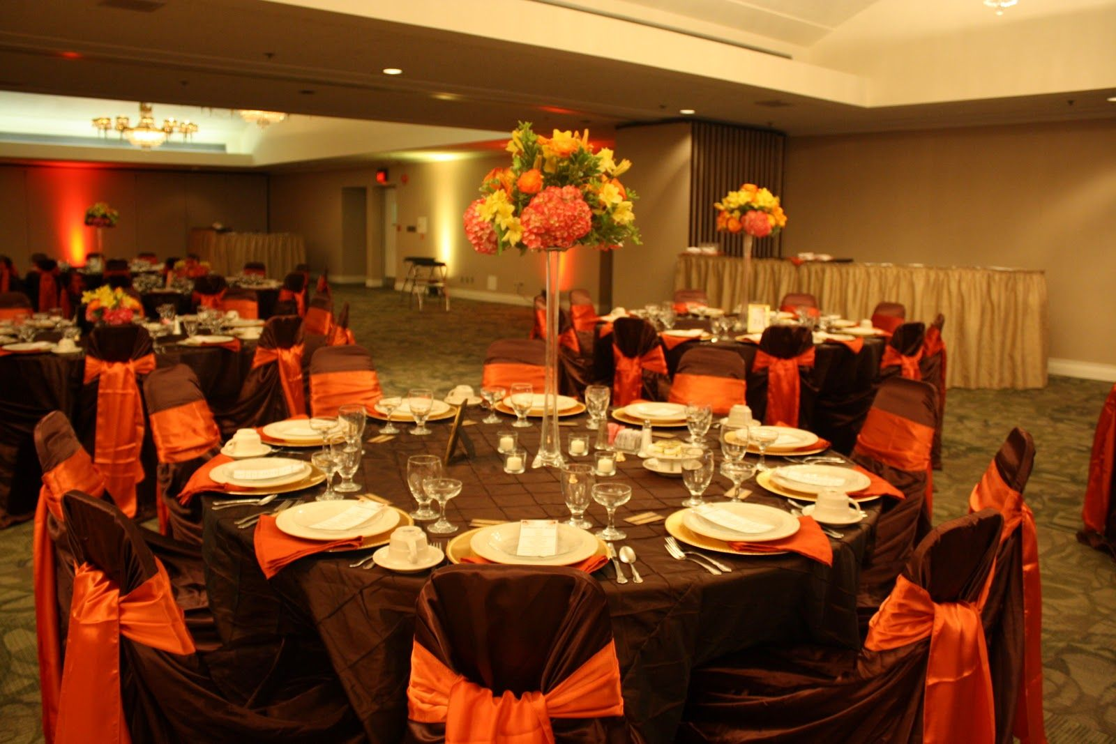 Burnt Orange Wedding Decorations Sash And Gold Charger Plates Napkins