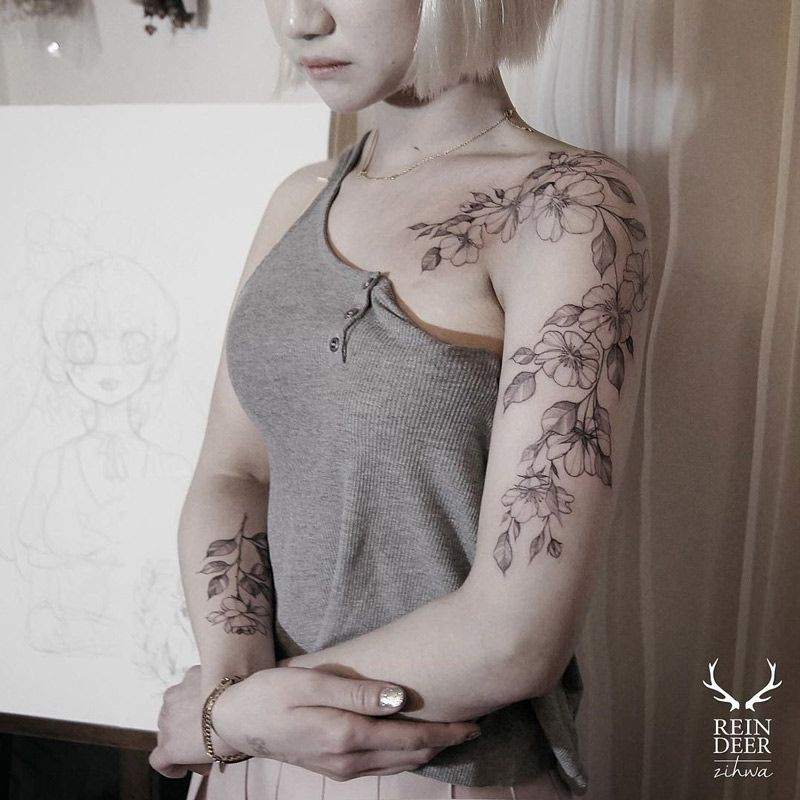 Best 20 Front Shoulder Tattoos Ideas On Pinterest: Pretty Floral Arm & Shoulder Tattoo