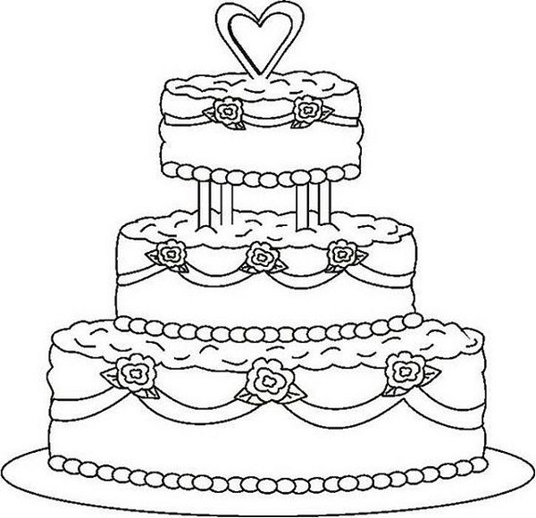 Kleurplaat Just Married Colouring Pages Wedding Cakes Colouring Pages Wedding