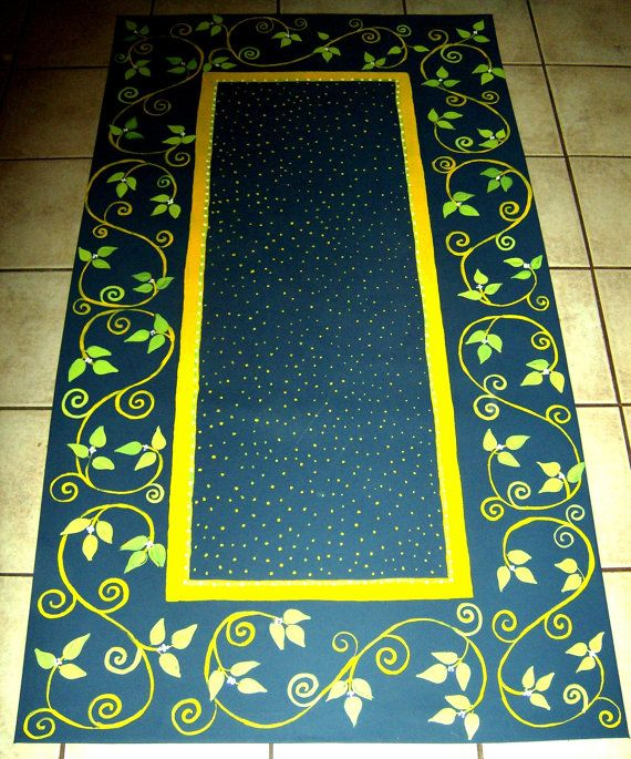 Painted Kitchen Floor Cloth: FLOORCLOTH French Country Painted Canvas Rug 3'X5' In 2019