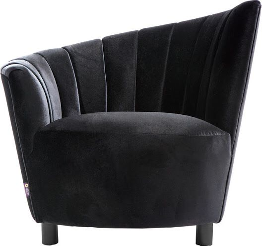 Asymmetrical Barrel Black Velvet Chair Chair Velvet Accent Chair
