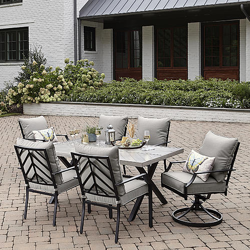 Sutton Rowe Silver Springs 7pc Dining Set Gray Sears 539 99 Sale Patio Furniture Dining Set Gray Patio Furniture Nyc Furniture