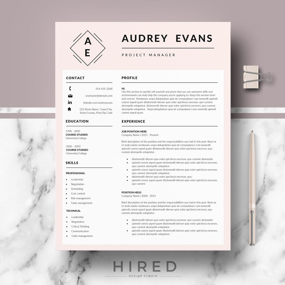 Pin by Hired Design Studio on Resume Templates for MS Word ...