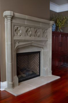 Tudor fireplace with column outer surround and gothic for Tudor style fireplace