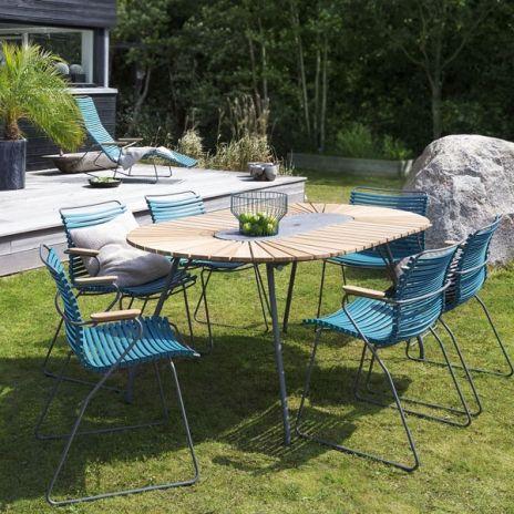 Table Ovale Eclipse Bambou Et Granit Acier Outdoor Par Houe Outdoor Furniture Outdoor Furniture Sets Modern Outdoor Furniture