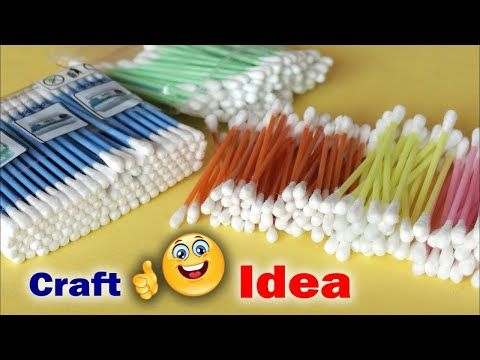 Genius Craft Idea Using Cotton Buds   Wall Frame Making Using Waste ...