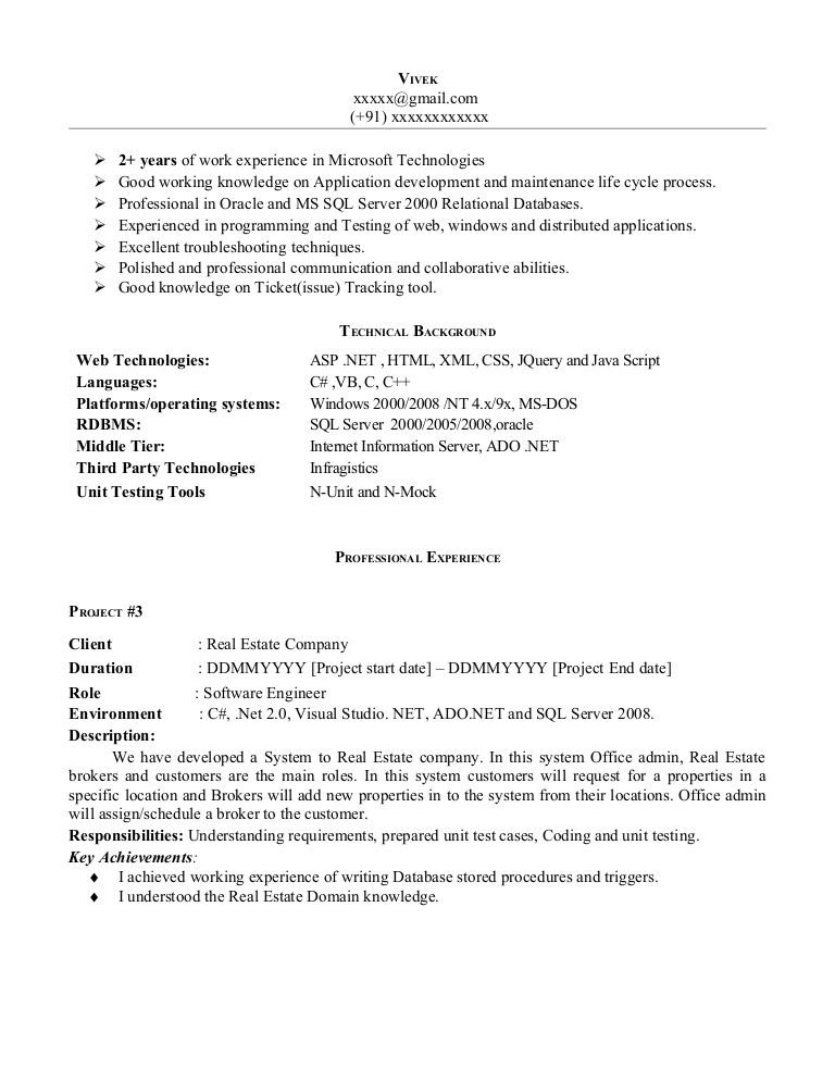 Sample Resume With Experience - http\/\/topresumeinfo\/sample - net developer resume