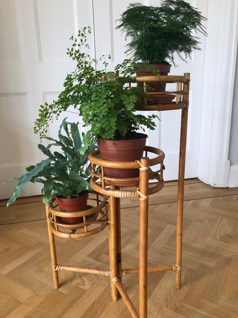 Very Cool Mid Century Vintage Rattan Bamboo 3 Tiered Plant Etsy Plant Stand Mid Century Bamboo Plants