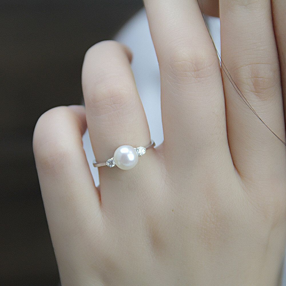 Real pearl ring,cubic zirconia engagement rings,june