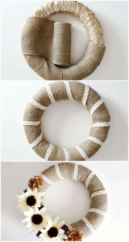 Handmade Burlap /& Black Lace Wreath