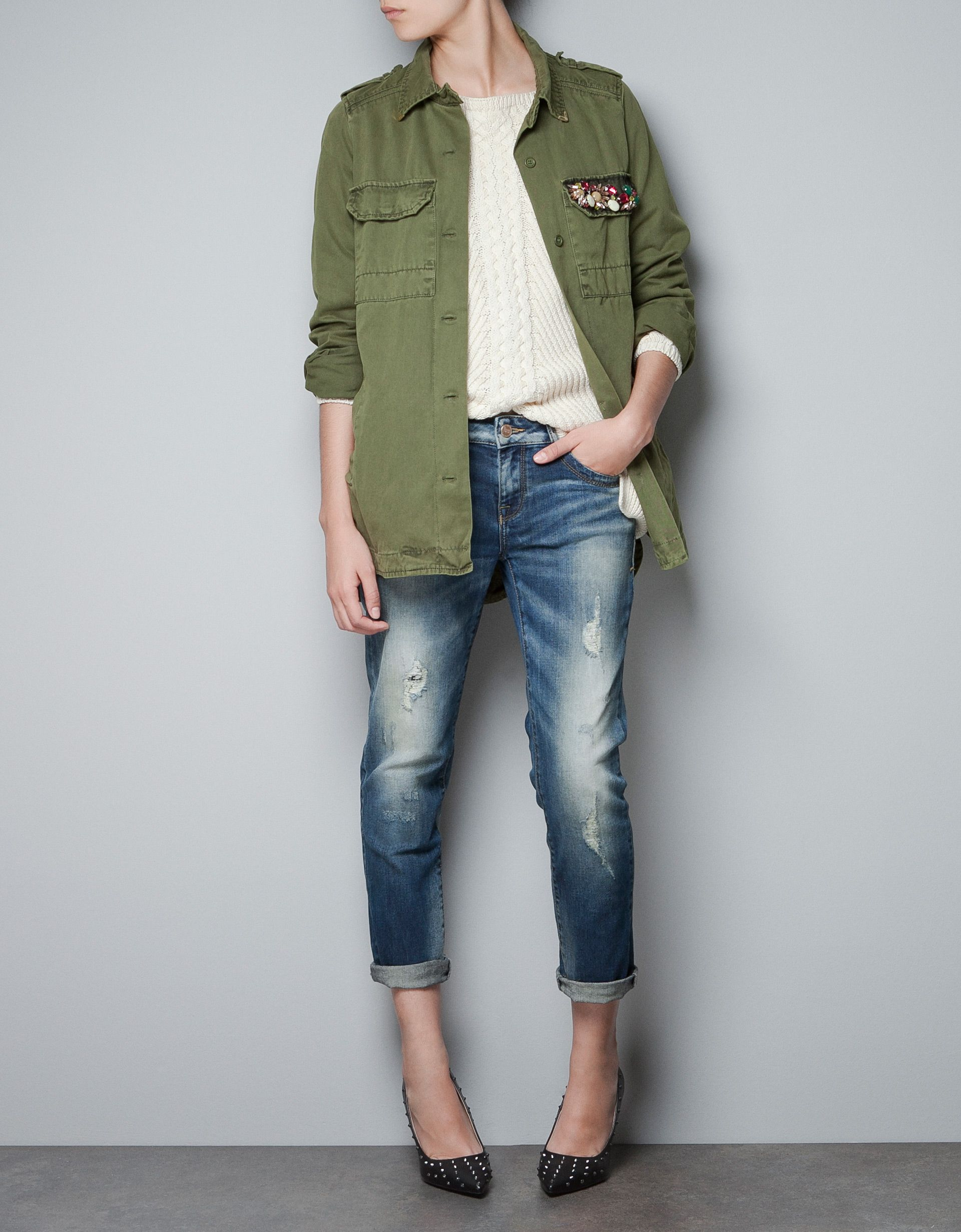 81b40160 Zara military jacket/overshirt with appliqué | My Style | Military ...